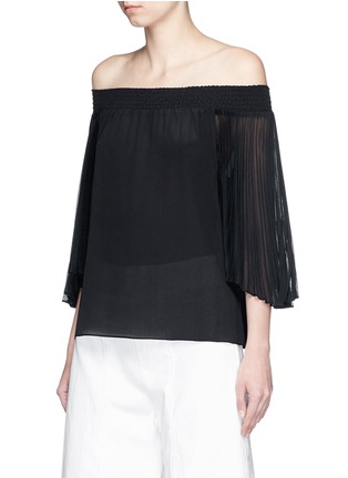 Front View - Click To Enlarge - alice + olivia - 'Elina' pleat sleeve off-shoulder top