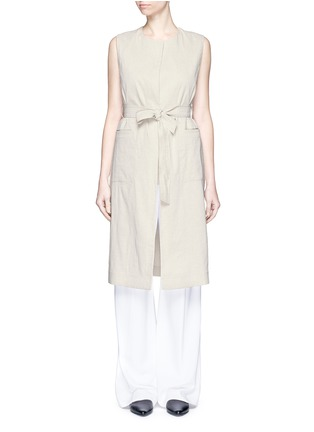 Main View - Click To Enlarge - Theory - 'Skea' tie waist linen blend long vest
