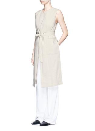 Figure View - Click To Enlarge - Theory - 'Skea' tie waist linen blend long vest