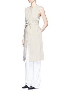 THEORY'Skea' tie waist linen blend long vest