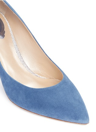 Detail View - Click To Enlarge - René Caovilla - 'Decollete' denim effect suede pumps