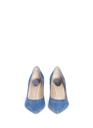 Front View - Click To Enlarge - René Caovilla - 'Decollete' denim effect suede pumps