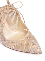 Strass pavé cutout satin pumps