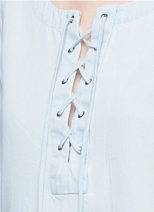 Detail View - Click To Enlarge - rag & bone/JEAN - Washed denim lace-up top
