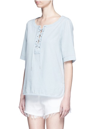 Front View - Click To Enlarge - rag & bone/JEAN - Washed denim lace-up top