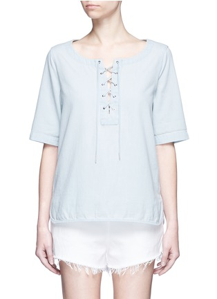 Main View - Click To Enlarge - rag & bone/JEAN - Washed denim lace-up top
