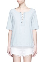 Washed denim lace-up top