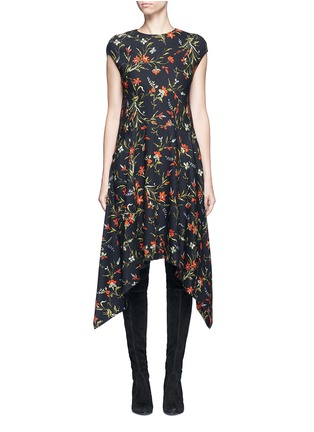 Main View - Click To Enlarge - Balenciaga - Cutout hem floral print dress