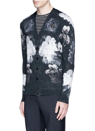 Front View - Click To Enlarge - Alexander McQueen - Floral print wool-silk cardigan