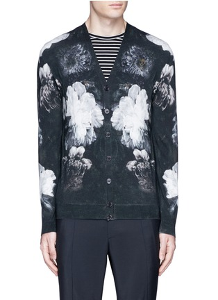 Main View - Click To Enlarge - Alexander McQueen - Floral print wool-silk cardigan