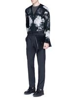 Floral print wool-silk cardigan