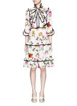 Rose and bee print ruffle poplin dress