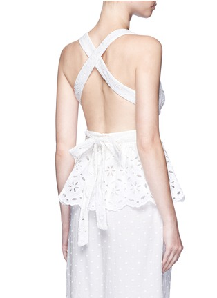Back View - Click To Enlarge - Zimmermann - 'Roza' open back broderie anglaise lace bib top