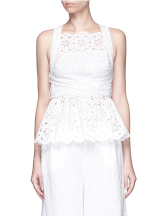 Main View - Click To Enlarge - Zimmermann - 'Roza' open back broderie anglaise lace bib top