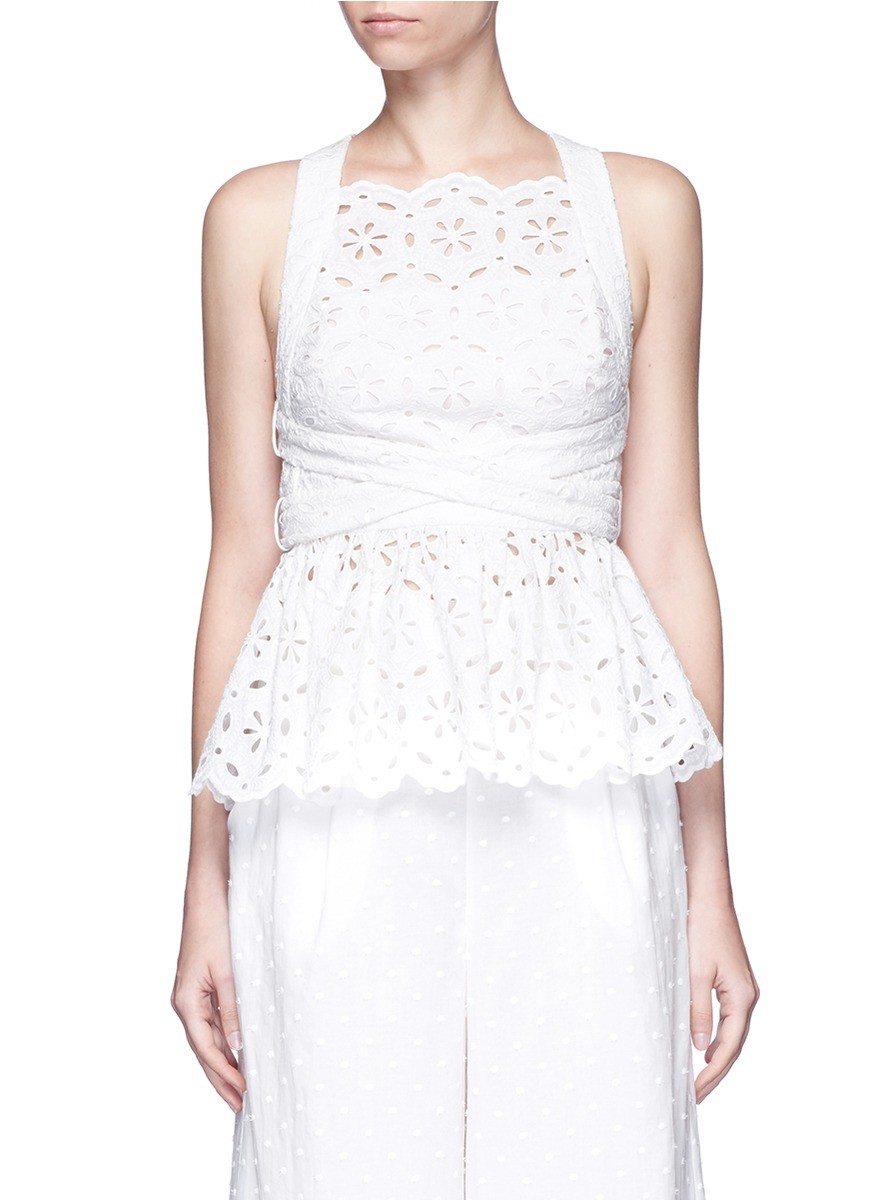 zimmermann female 45883 roza open back broderie anglaise lace bib top