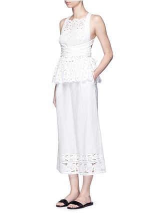Figure View - Click To Enlarge - Zimmermann - 'Roza' open back broderie anglaise lace bib top