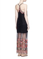 'Sally' poppy embroidered mesh lace maxi dress