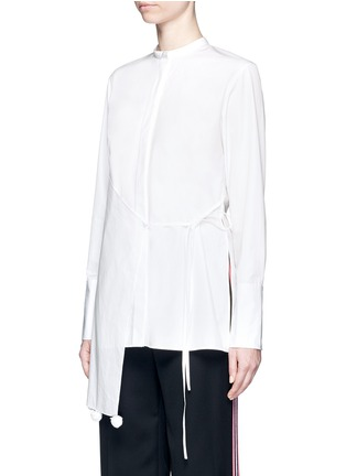 Front View - Click To Enlarge - Ports 1961 - Asymmetric layered pompom apron cotton poplin shirt