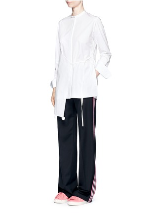 Figure View - Click To Enlarge - Ports 1961 - Asymmetric layered pompom apron cotton poplin shirt