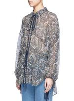 Oriental print silk crépon blouse