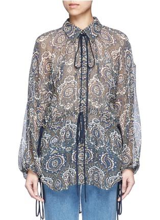 Main View - Click To Enlarge - Chloé - Oriental print silk crépon blouse