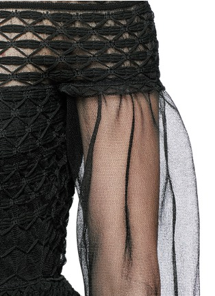 Detail View - Click To Enlarge - Alexander McQueen - Off-shoulder macramé stitch tulle peplum dress