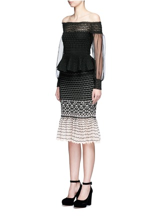 Front View - Click To Enlarge - Alexander McQueen - Off-shoulder macramé stitch tulle peplum dress