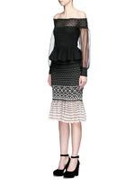 Off-shoulder macramé stitch tulle peplum dress