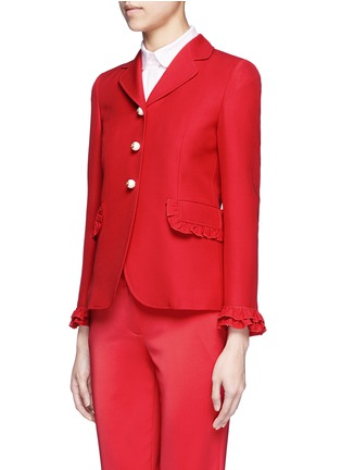 Front View - Click To Enlarge - Gucci - Ruffle trim cady suit jacket