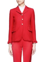 Ruffle trim cady suit jacket