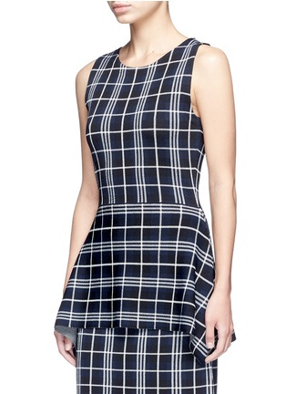 Front View - Click To Enlarge - Theory - 'Kalora' plaid knit peplum top