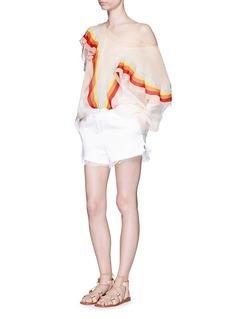 CHLOÉRainbow ruffle trim silk crépon blouse