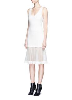 GivenchyChiffon hem sleeveless knit dress