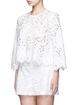 'Brizabela' floral cutwork embroidery linen-cotton top