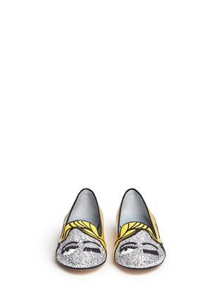 Front View - Click To Enlarge - Chiara Ferragni - 'Superhero Flirting' eye wink appliqué glitter patent flats