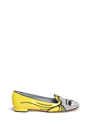 Main View - Click To Enlarge - Chiara Ferragni - 'Superhero Flirting' eye wink appliqué glitter patent flats