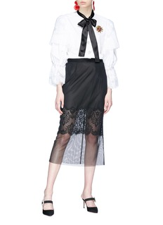 Dolce & Gabbana Heart appliqué lace trim pussybow shirt