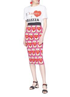 Dolce & Gabbana 'Amore' tin can print silk pencil skirt