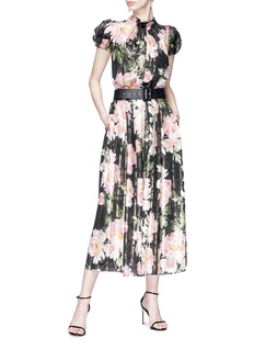 Dolce & Gabbana Floral print pleated jacquard dress