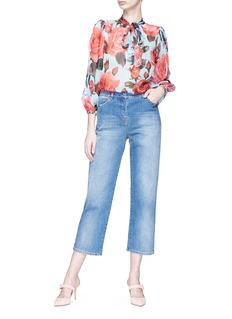 Dolce & Gabbana Rose print silk chiffon pussybow blouse
