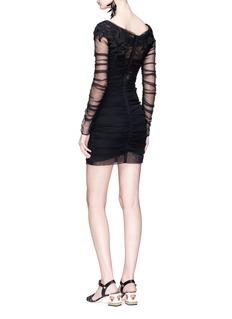 Dolce & Gabbana Floral appliqué ruched tulle mini dress
