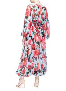 Dolce & Gabbana Rose print smocked silk chiffon jumpsuit