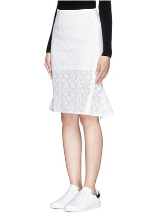 Front View - Click To Enlarge - Mo&Co. - Back peplum hem guipure lace skirt