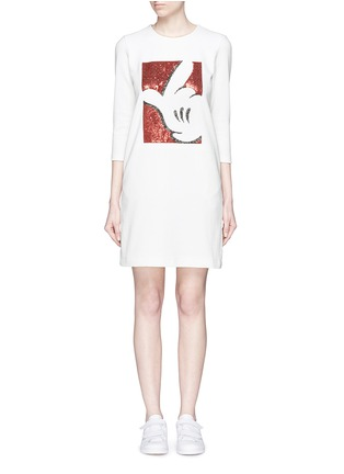 Main View - Click To Enlarge - Mo&Co. - Mickey Mouse embellished waffle knit dress