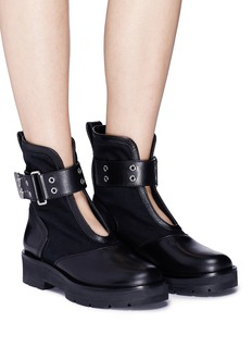 3.1 Phillip Lim 'Cat' buckled strap leather panel twill combat boots