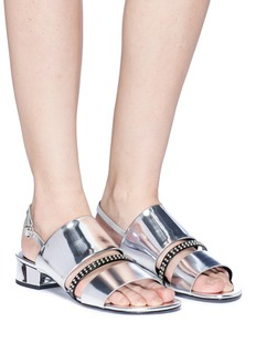 3.1 Phillip Lim 'Drum' stud strap mirror leather slingback sandals