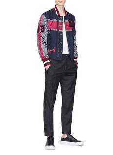 Dolce & Gabbana Mix chenille patch stripe bomber jacket