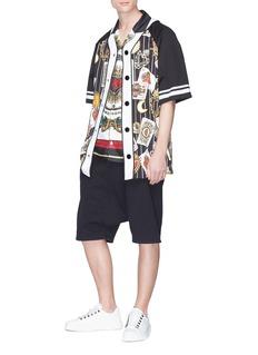 Dolce & Gabbana Poker card print pinstripe baseball top