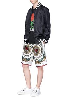 Dolce & Gabbana Heart print silk twill Bermuda shorts