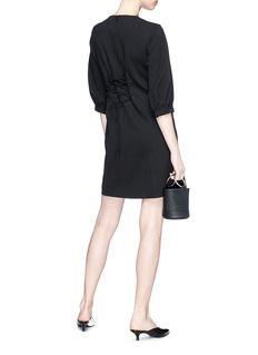 Tibi Lace-up back structured crepe corset dress